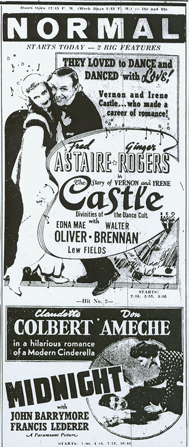 Vintage press poster of Astaire and Rogers 1939